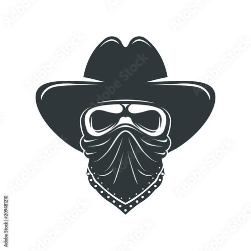 Cowboy skull. Bandit with hat and bandanna Fototapeta