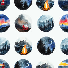 Seamless Pattern With Scandinavian Watercolor Landscapes