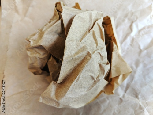 Canvas Prints Coffee beans Crumpled brown wax paper wrapper in a ball