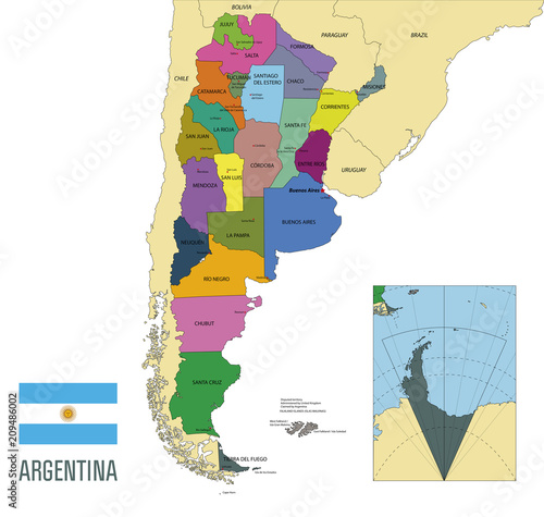 Fotografía  Political vector map of Argentina
