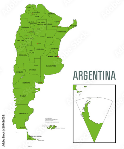 Fotografie, Tablou  Political vector map of Argentina