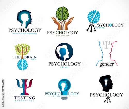 Psychology, brain and mental health vector conceptual icons or logos set Slika na platnu