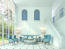 Modern Classic Living Room 3d Render,There Are White Room And Stairs Up To The Upper Floor,furnished With Blue Furniture.