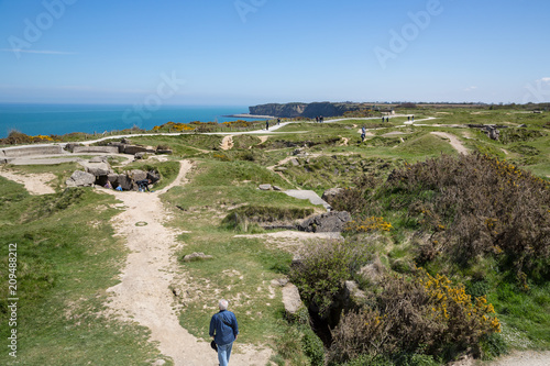 Fotografia  Pointe Du Hoc, Normandy May 6th 2013 : Tourists at the German bunkers which were