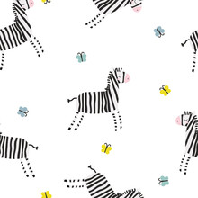 Cute Zebra And Butterflies Seamless Pattern. Vector Hand Drawn Illustration.
