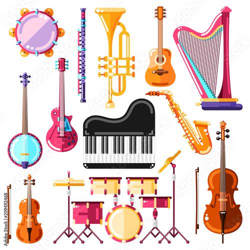 Fotografía Musical instruments vector illustration