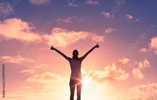 Fényképezés  Young woman feeling positive, and happy.