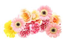 薔薇、ガーベラとカーネーションの花束