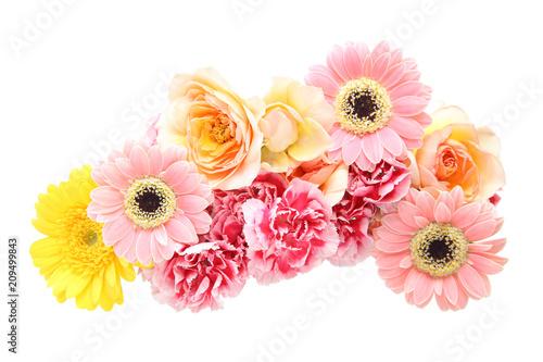 Keuken foto achterwand Gerbera 薔薇、ガーベラとカーネーションの花束