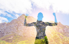 Strong Female Flexing Against Mountain Background. People Fitness Goals, Motivation, And Challenging Your Self Concept. Double Exposure.