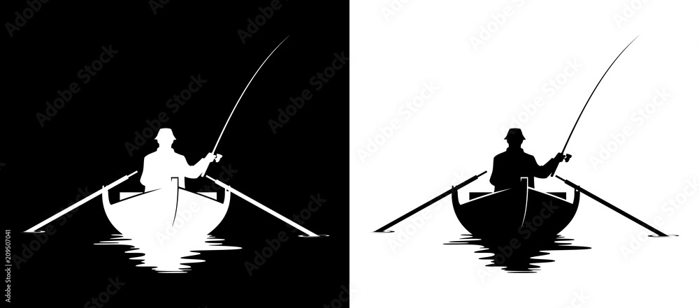 Fototapeta Fisherman in boat silhouette