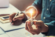 Leinwandbild Motiv business accounting and concept saving energy in office