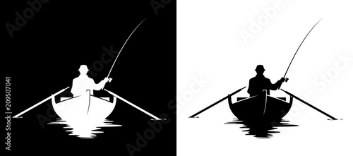 Obraz Fisherman in boat silhouette - fototapety do salonu