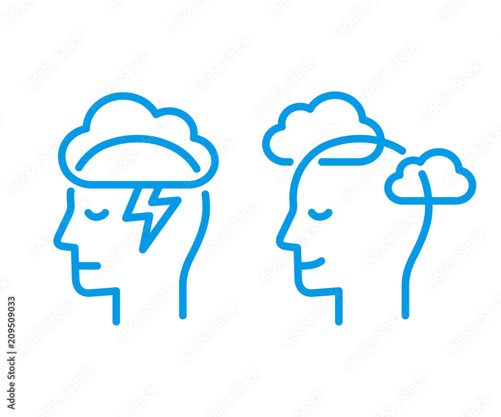 Fototapeta Head icon with cloud