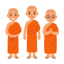 Cute Cartoon Buddhist Monks