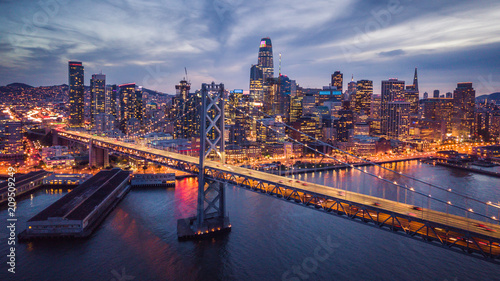 Aerial cityscape view of San Francisco and the Bay Bridge at Night - 209509249