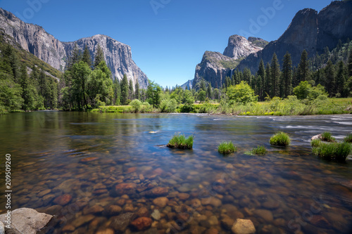 Classic valley view of Yosemite National Park Poster