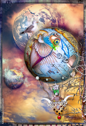 Deurstickers Imagination Steampunk hot air balloon in flight in an enchanted sky