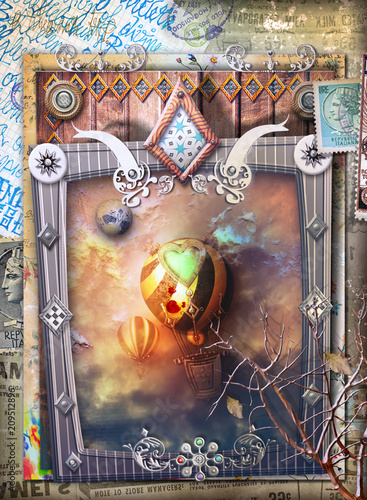 Poster Imagination Fantastic flight of steampunk hot air balloons in a gothic and fairytale frame