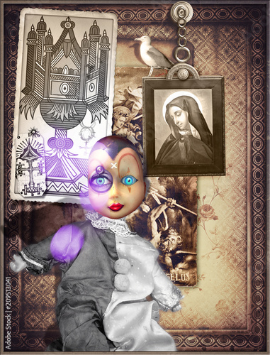 Deurstickers Imagination Pierrot's mask in a mysterious and bewitched interior