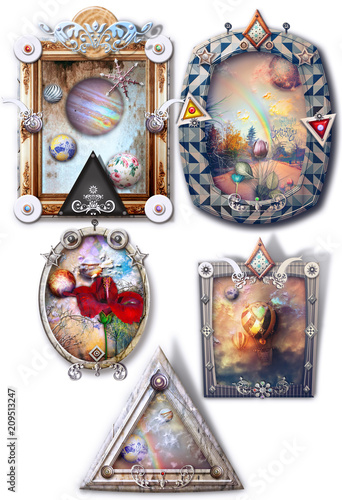 Deurstickers Imagination Fantastic landscapes, fairytale and enchanted in gothic and steampunk frames