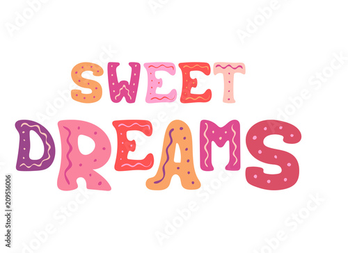 Cute hand-drawn vector lettering for design - Sweet dreams. Canvas Print