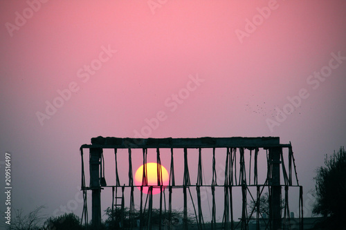 Photo Stands Candy pink Sunset at the village