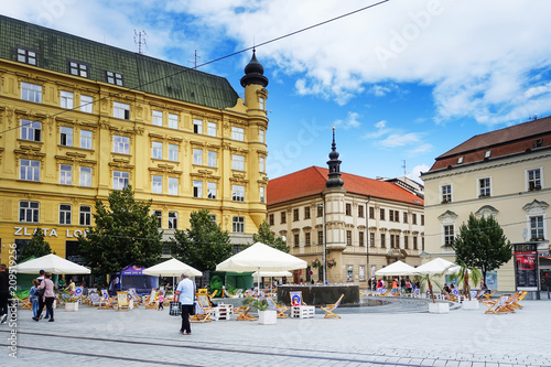BRNO, CZECH REPUBLIC - July 25, 2017: Street view of downtown in Brno, Czech Republic
