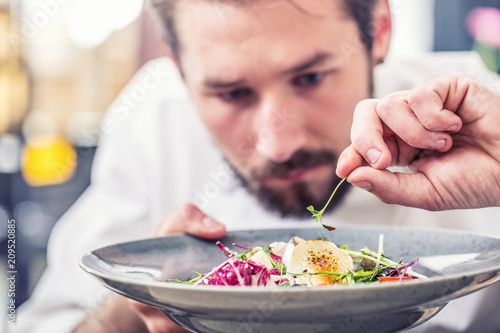 Fotografering Chef in hotel or restaurant kitchen preparing food.
