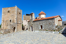 St. Spyridon And Village Square, Vatheia Village, Mani, Laconia, Greece.