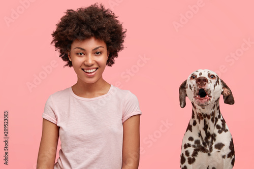 Fotografie, Obraz  Cheerful African American female being in love with her dalmatian dog, pose together after outside stroll
