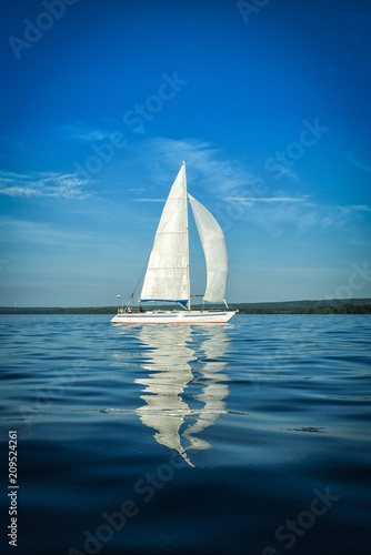 Vertical view on Swedish sailboat