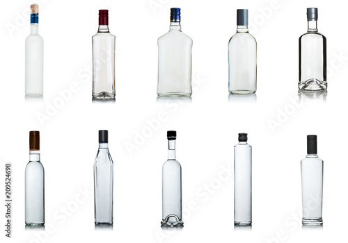 set of vodka bottles