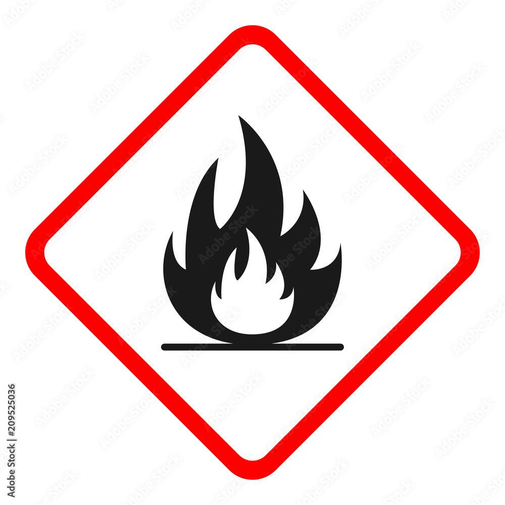Fototapety, obrazy: FLAMMABLE SIGN. Rhombus. Vector.