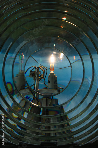 Fotografie, Obraz Close up view of the Fresnel lens inside the Cape Blanco Lighthouse on the Orego