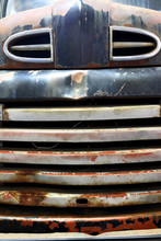 Old Rusty Truck Hood Grill Front View