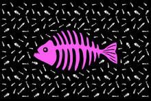 Beautiful Background With Pink Silhouette Of Piranha Skeleton And White Pattern With Other Fish Bones On Black Background