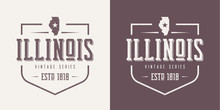 Illinois State Textured Vintag...