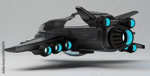 Türaufkleber UFO Futuristic spacecraft isolated on grey background 3D rendering