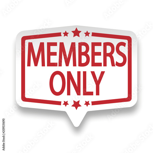 red members only web pin paper label badge on white Tableau sur Toile
