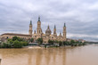 Basilica Cathedral Pilar Zaragoza Aragon Spain, water reflection Ebro river