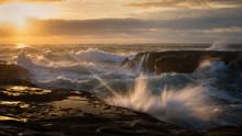 Splashing Waves In Muriwai Bea...