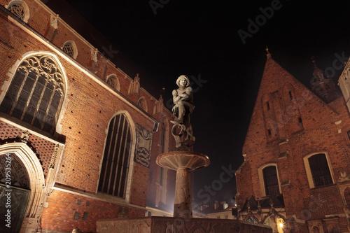 Plakat Kraków nocą, plac Mariacki z fontanną studencką, tył kościoła św. Marii, Polska