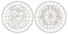 Set Of Contour Illustrations Of Stained Glass Windows On Biblical Theme, Jesus Baby With Mary And Joseph And Christmas Wreath With Holly, Dark Outlines On White Background,round Image In  Frame