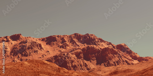 Printed kitchen splashbacks Brown Mars landscape, 3d render of imaginary mars planet terrain