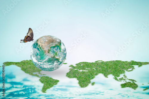 World ocean day, environmental protection, earth day and saving water concept with planet globe on continental map: Element of this image furnished by NASA