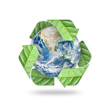 Waste Recycle Management Symbolic Icon For Saving World Environmental Campaign Concept: Element Of The Image Furnished By NASA
