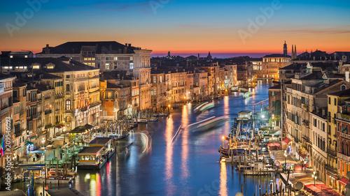 Plakat Noc linia horyzontu Wenecja, Włochy