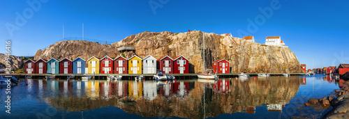 Leinwand Poster Bootshäuser in Schweden