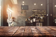 canvas print picture - Empty old wood table top and blurred bokeh cafe and coffee shop interior background with vintage filter - can used for display or montage your products.